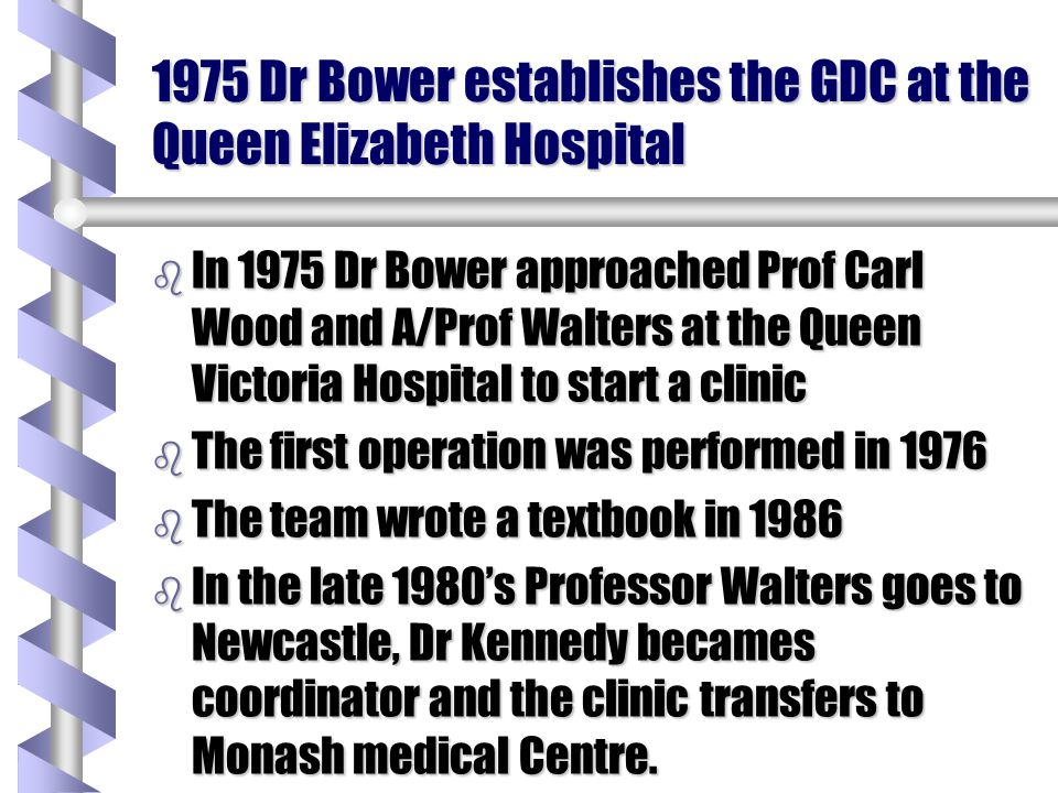 1975 Dr Bower establishes the GDC at the Queen Elizabeth Hospital