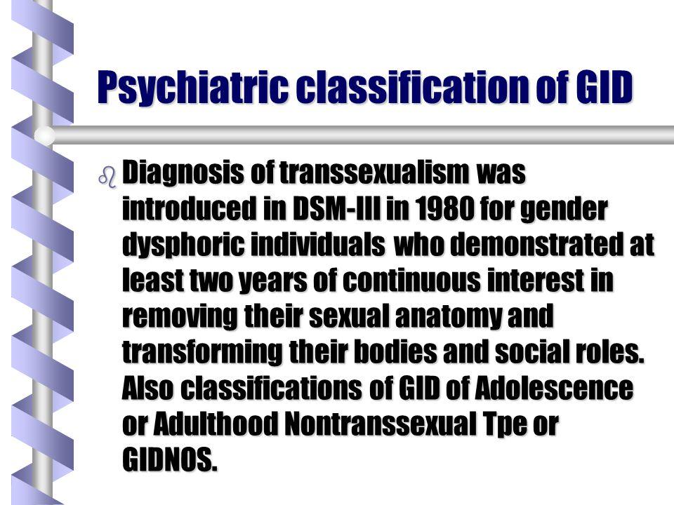 Psychiatric classification of GID