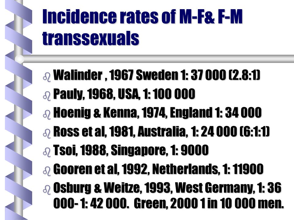 Incidence rates of M-F& F-M transsexuals