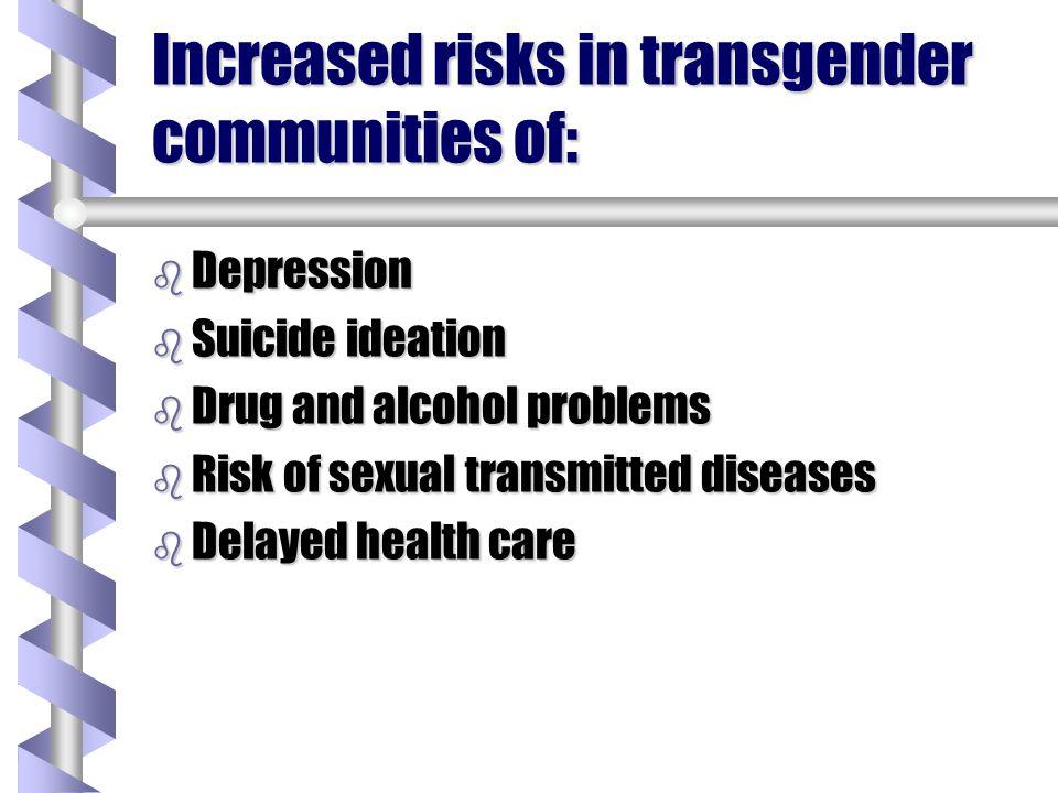 Increased risks in transgender communities of: