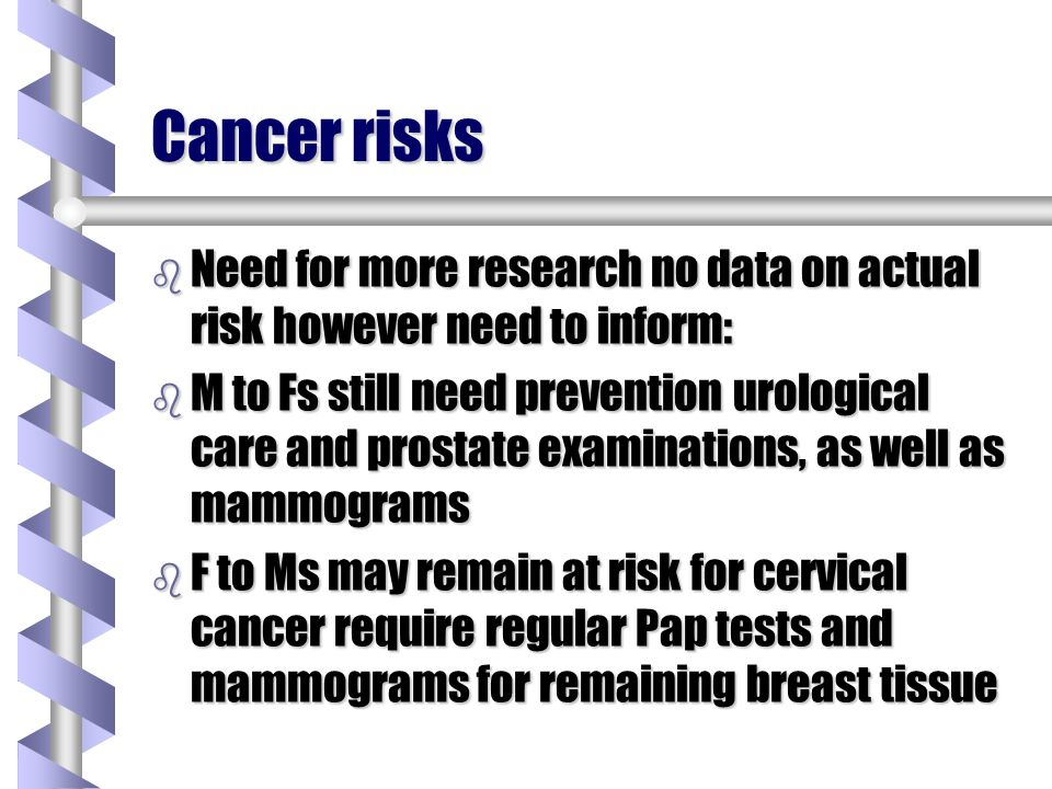 Cancer risks Need for more research no data on actual risk however need to inform: