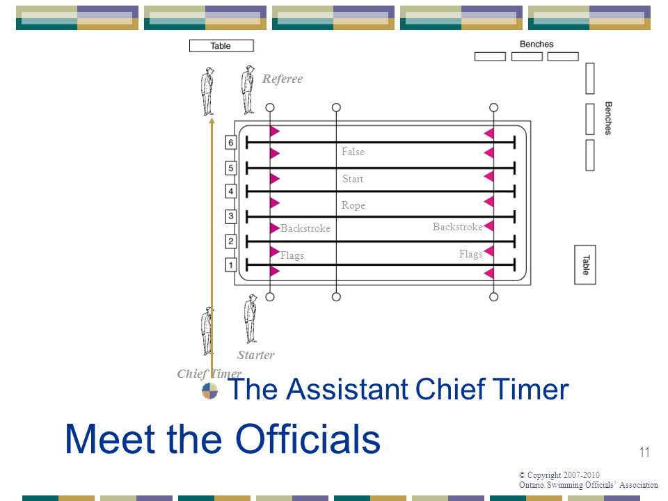 Meet the Officials The Assistant Chief Timer Referee Starter