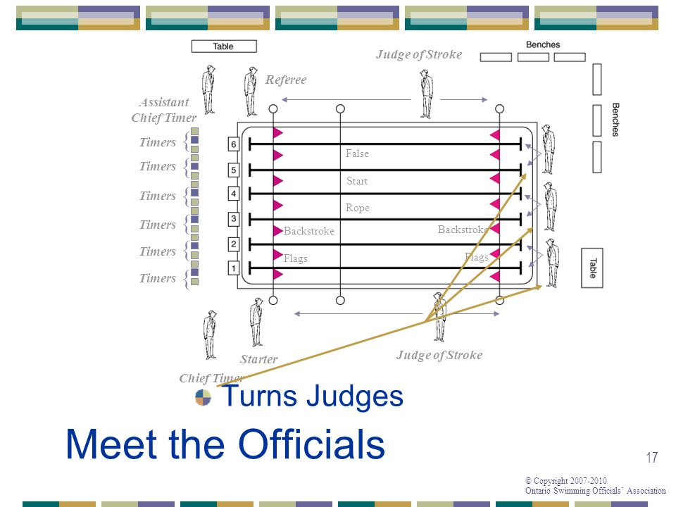 Meet the Officials Turns Judges { { { { { { Judge of Stroke Referee