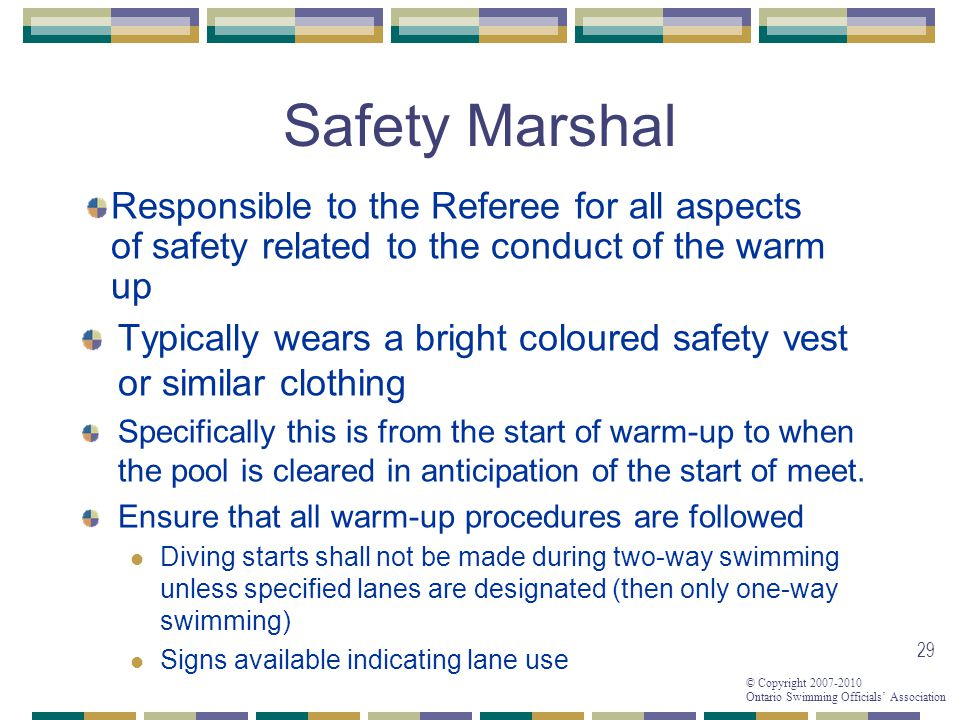 Safety Marshal Responsible to the Referee for all aspects of safety related to the conduct of the warm up.