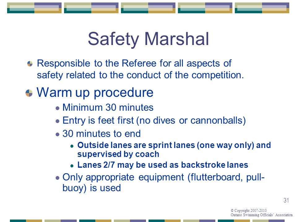 Safety Marshal Warm up procedure