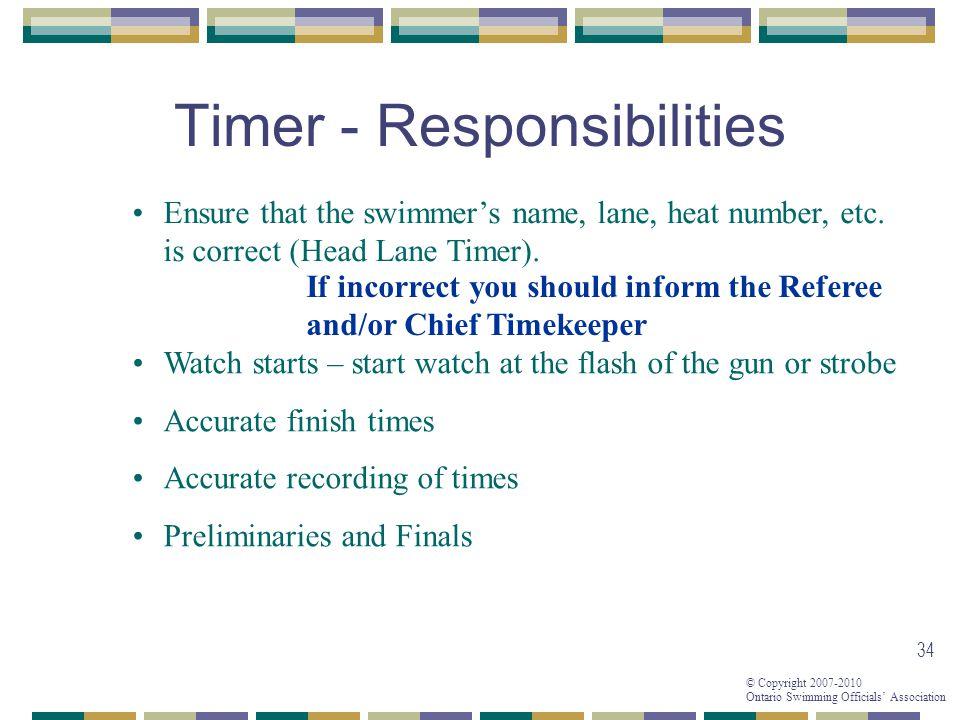 Timer - Responsibilities