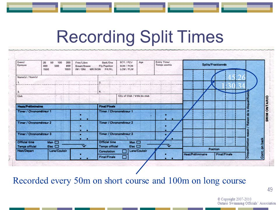 Recording Split Times 45.26 1:30.34 Recorded every 50m on short course and 100m on long course