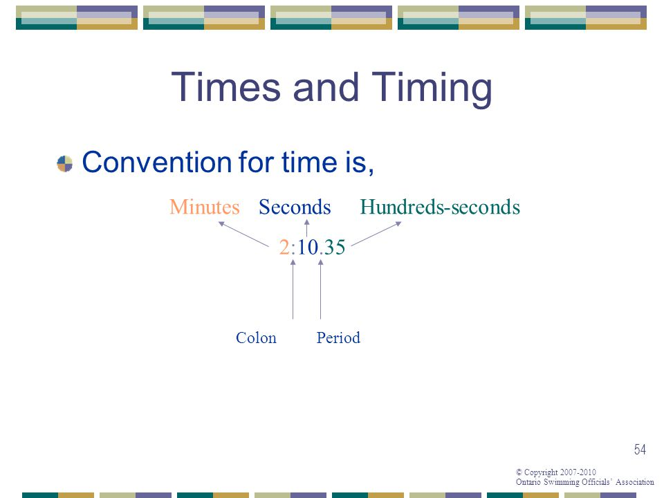 Times and Timing Convention for time is, Minutes Seconds