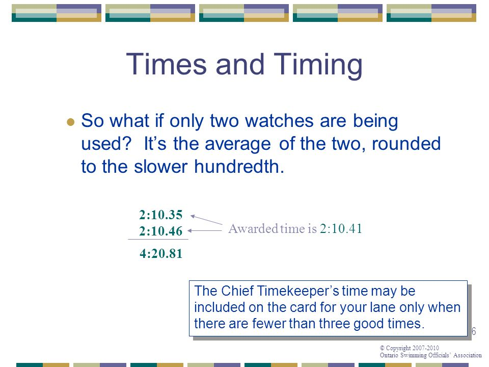 01/04/2017 Times and Timing. So what if only two watches are being used It's the average of the two, rounded to the slower hundredth.
