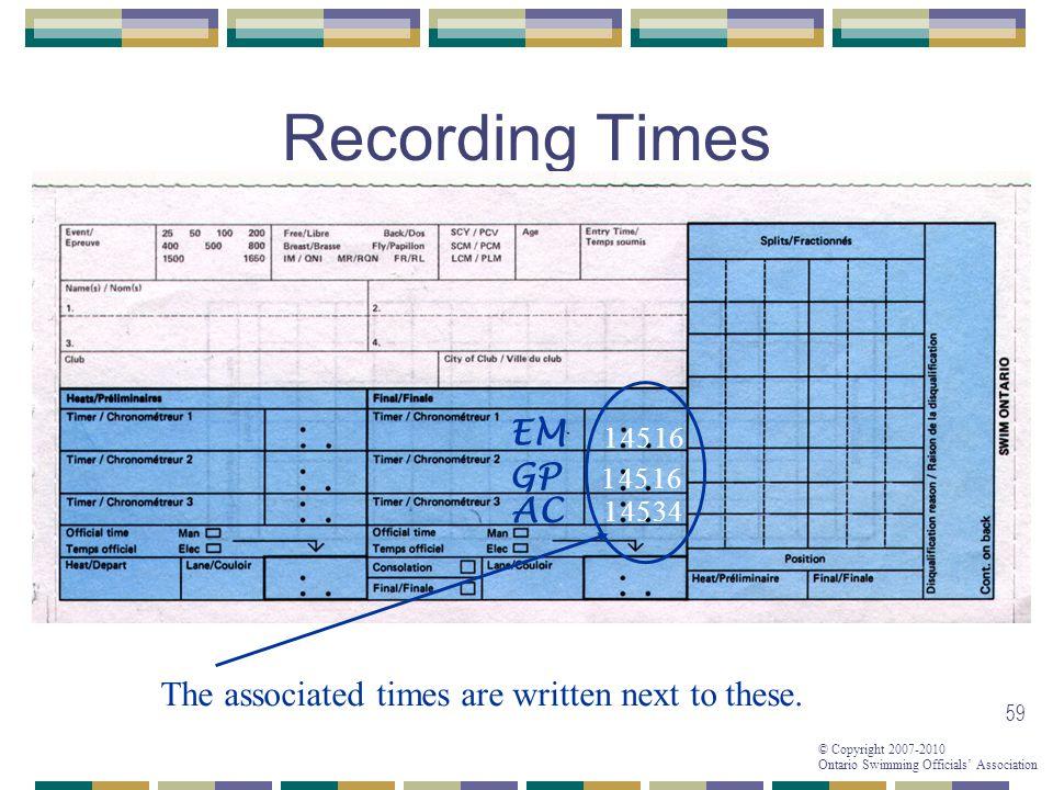 Recording Times EM GP AC