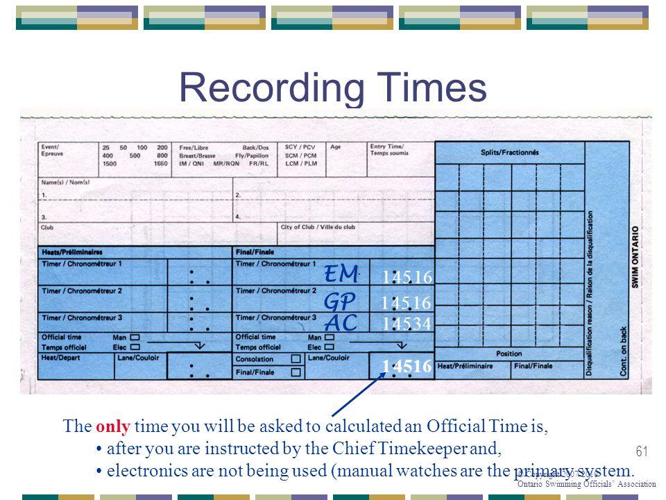 Recording Times EM GP AC 1 45 16 1 45 16 1 45 34 1 45 16