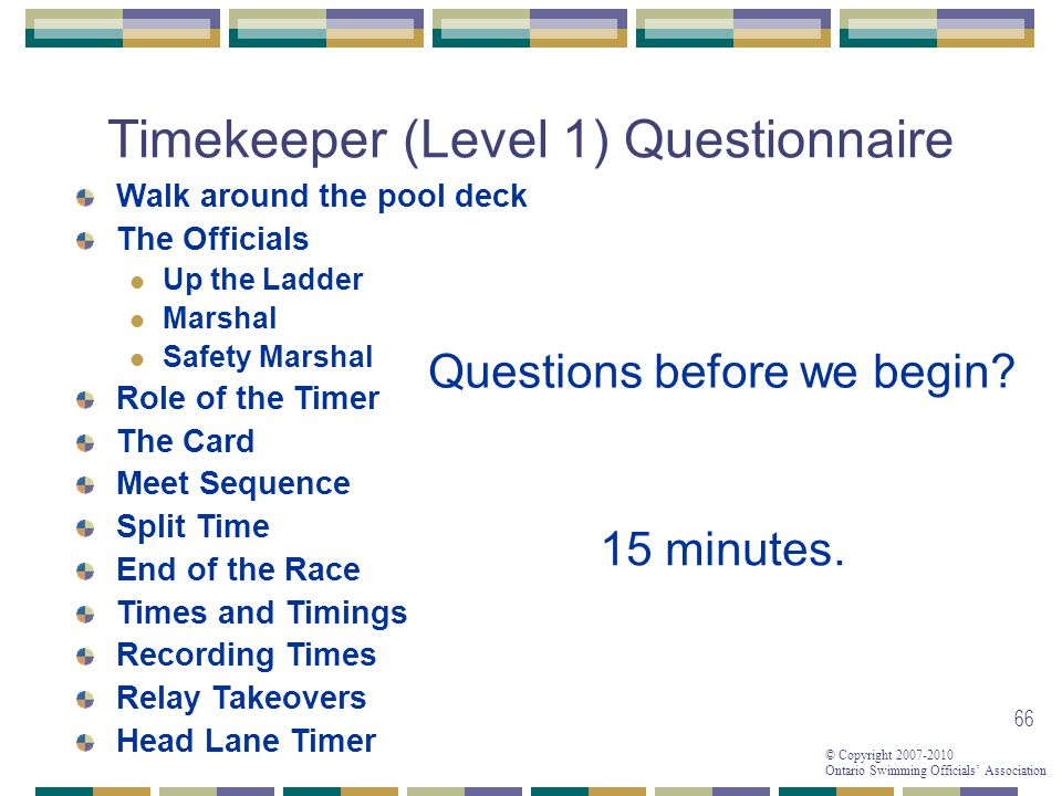 Timekeeper (Level 1) Questionnaire
