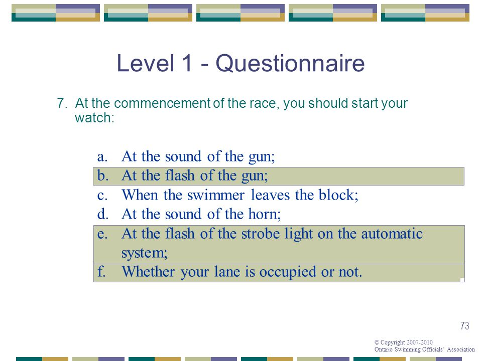 Level 1 - Questionnaire At the sound of the gun;