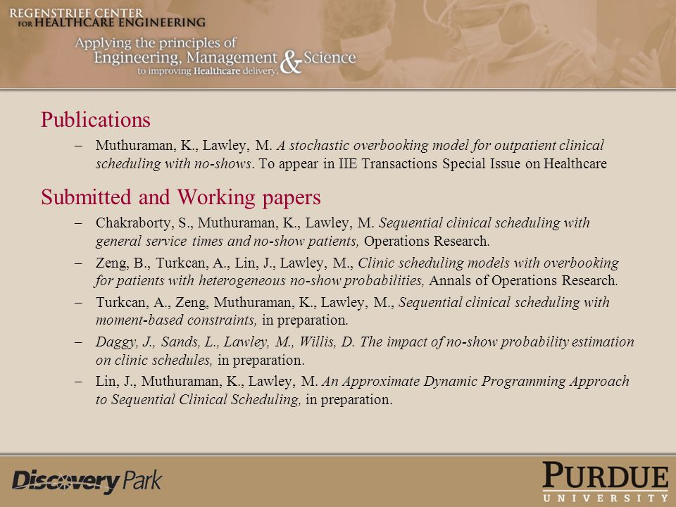 Submitted and Working papers