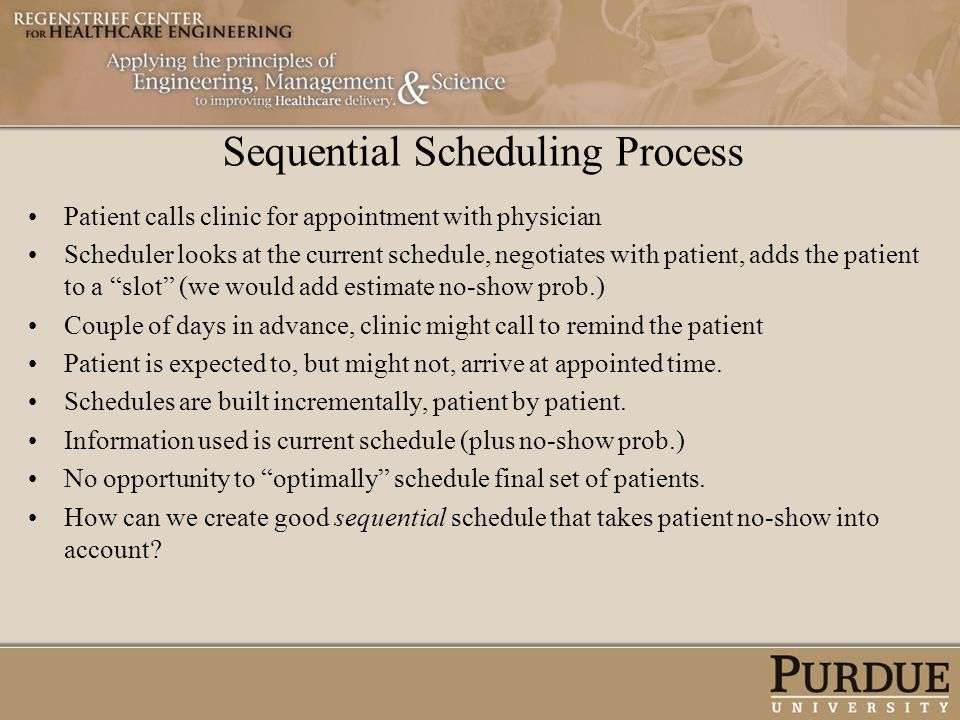 Sequential Scheduling Process