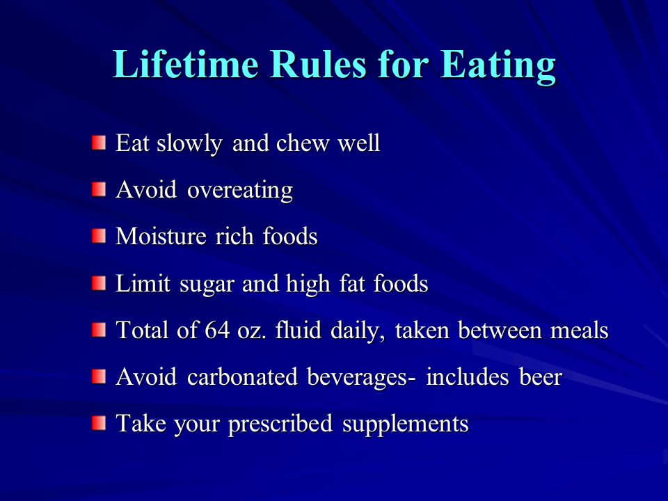Lifetime Rules for Eating