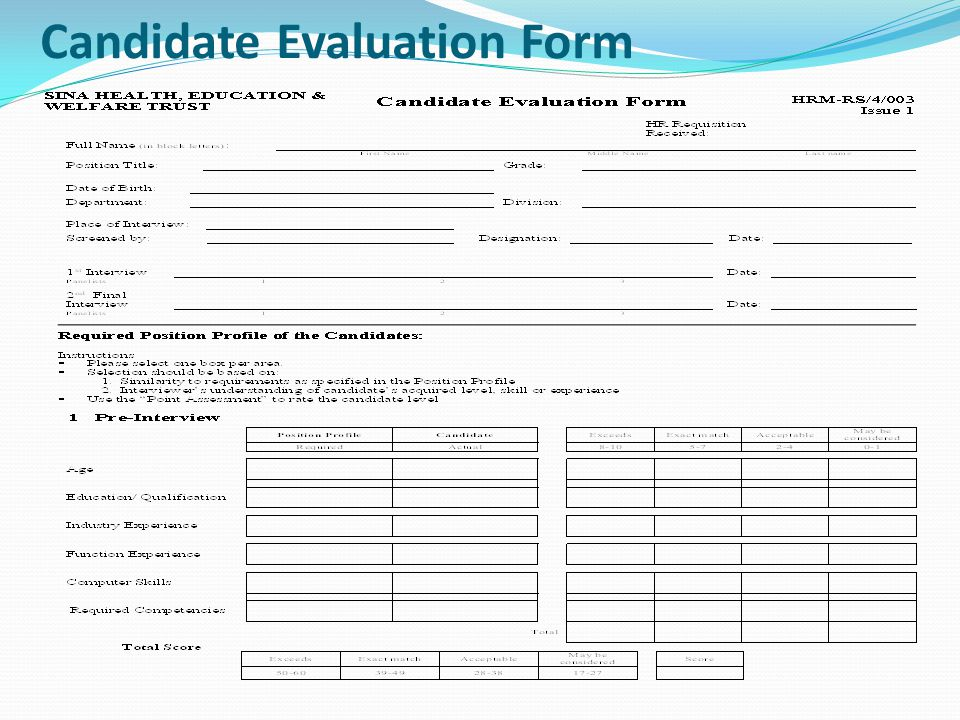 Candidate Evaluation Form