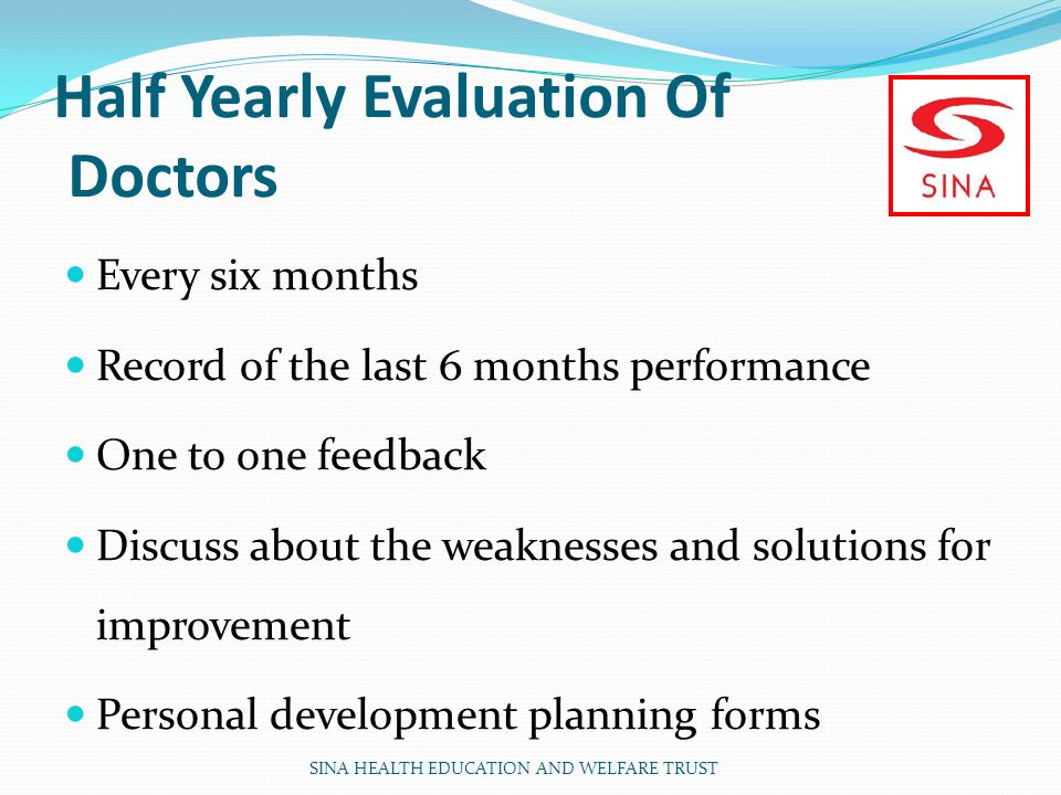 Half Yearly Evaluation Of Doctors