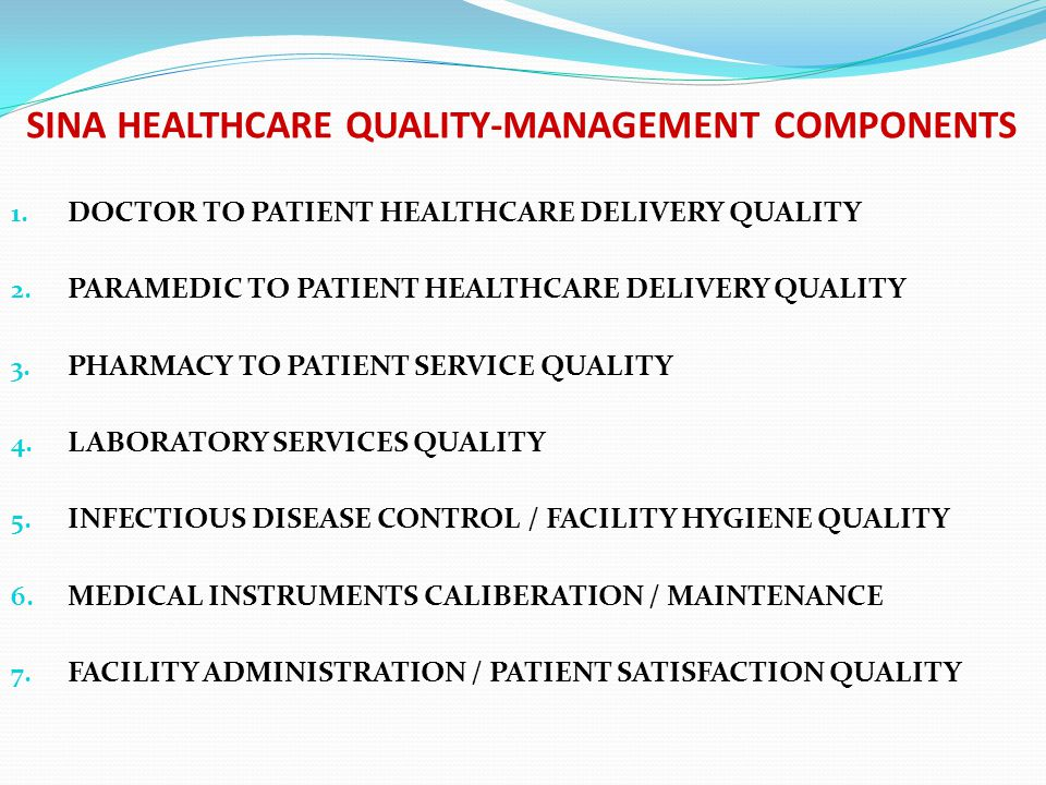 SINA HEALTHCARE QUALITY-MANAGEMENT COMPONENTS