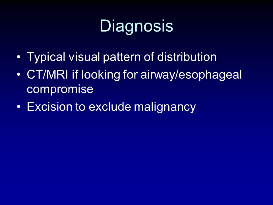 Diagnosis Typical visual pattern of distribution