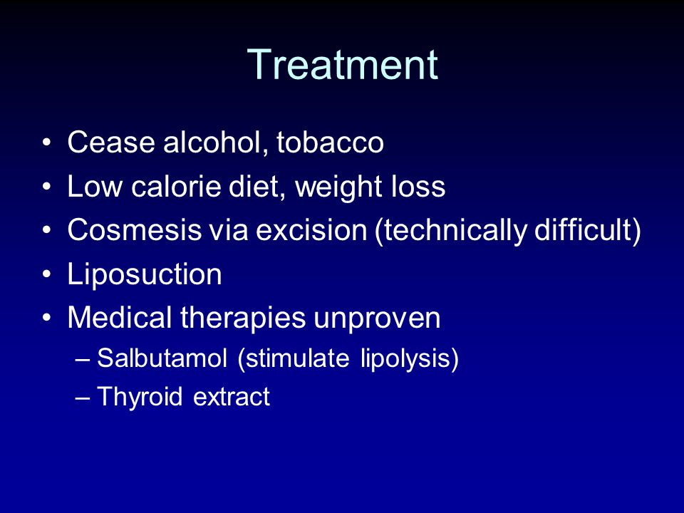 Treatment Cease alcohol, tobacco Low calorie diet, weight loss