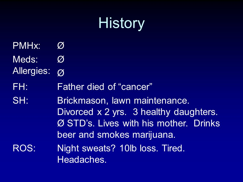 History PMHx: Ø Meds: Allergies: FH: Father died of cancer SH: