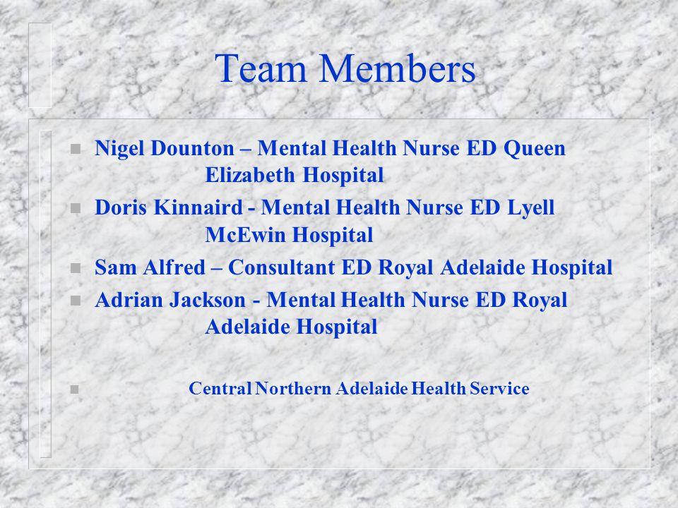 Team Members Nigel Dounton – Mental Health Nurse ED Queen Elizabeth Hospital.