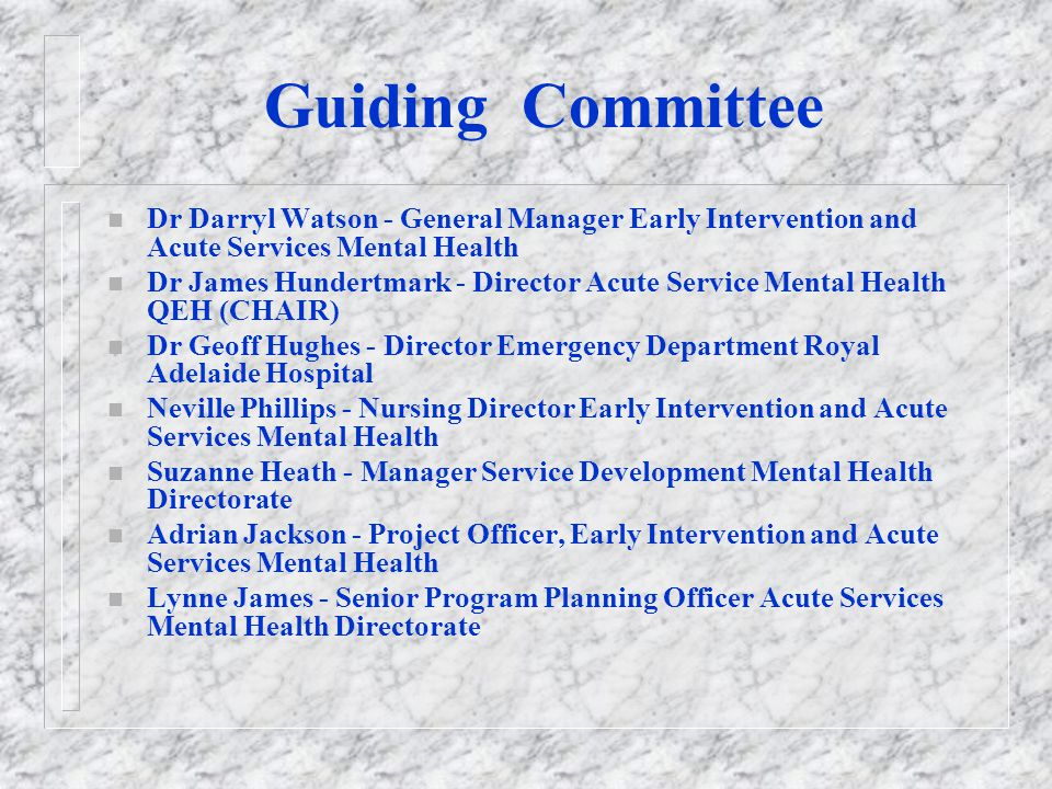 Guiding Committee Dr Darryl Watson - General Manager Early Intervention and Acute Services Mental Health.
