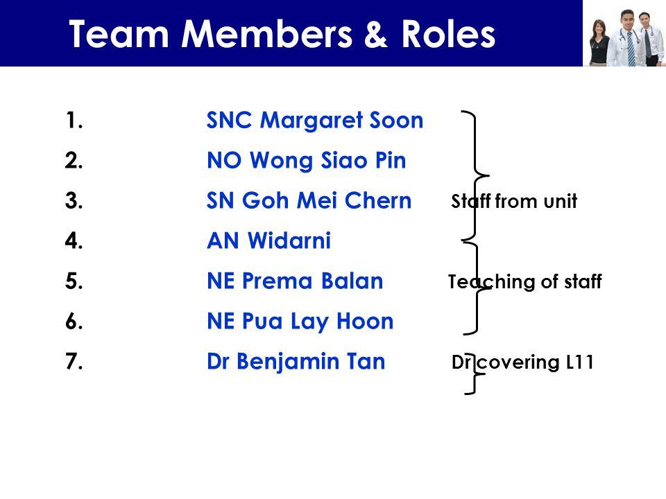 Team Members & Roles 1. SNC Margaret Soon 2. NO Wong Siao Pin