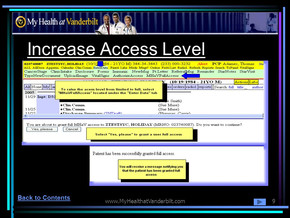 Increase Access Level Back to Contents www.MyHealthatVanderbilt.com