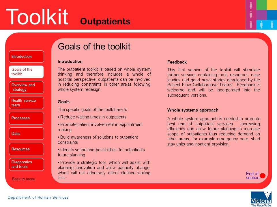 Goals of the toolkit Introduction Feedback