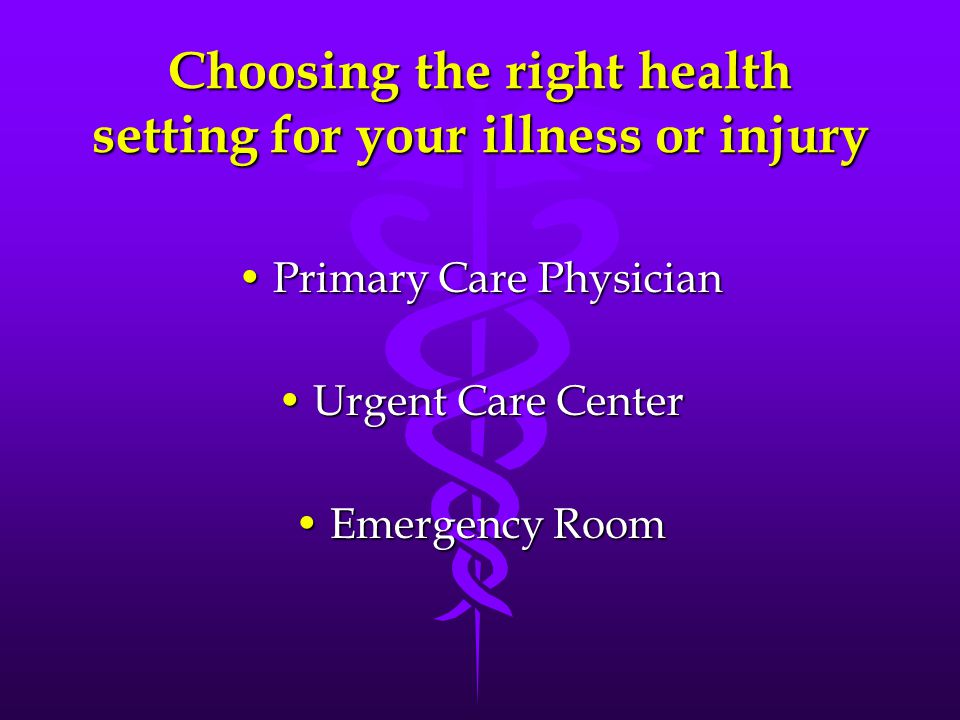 Choosing the right health setting for your illness or injury