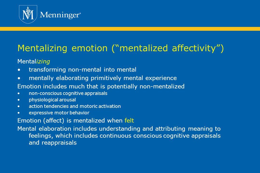 Mentalizing emotion ( mentalized affectivity )