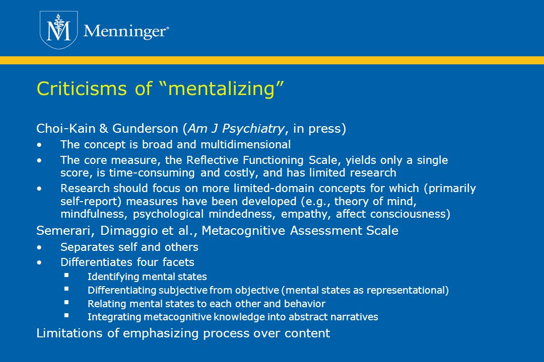 Criticisms of mentalizing