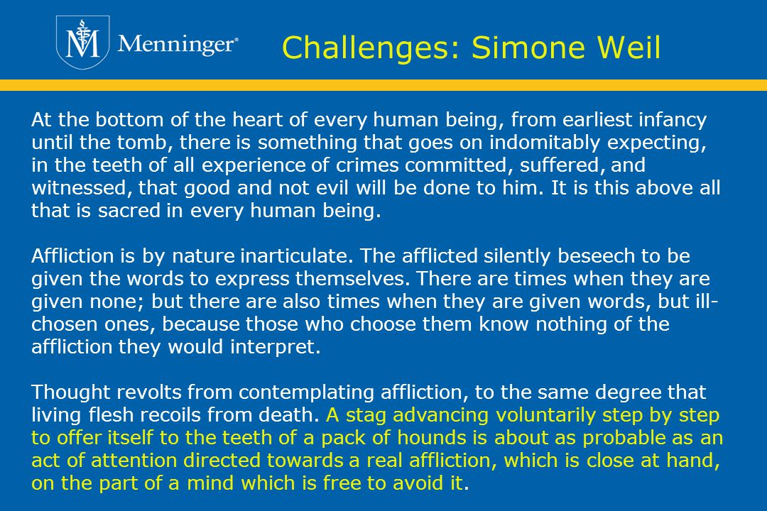 Challenges: Simone Weil