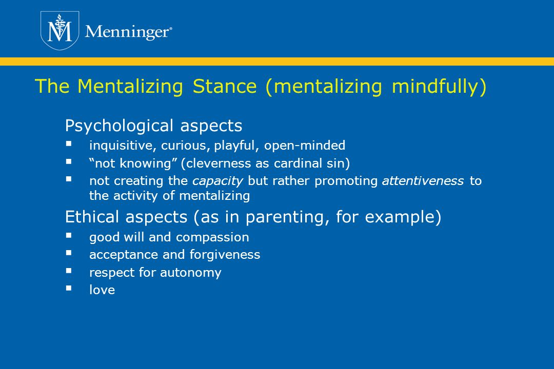 The Mentalizing Stance (mentalizing mindfully)