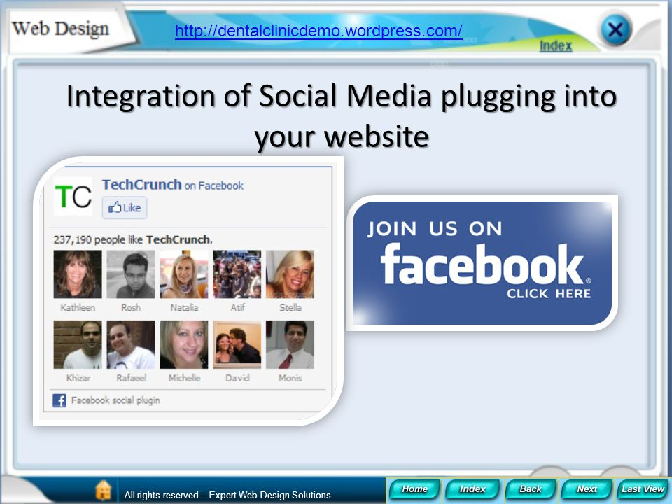 Integration of Social Media plugging into your website
