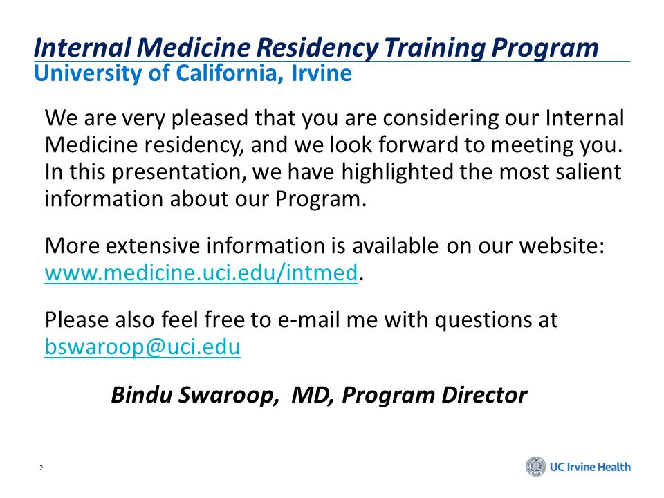Internal Medicine Residency Training Program University of California, Irvine