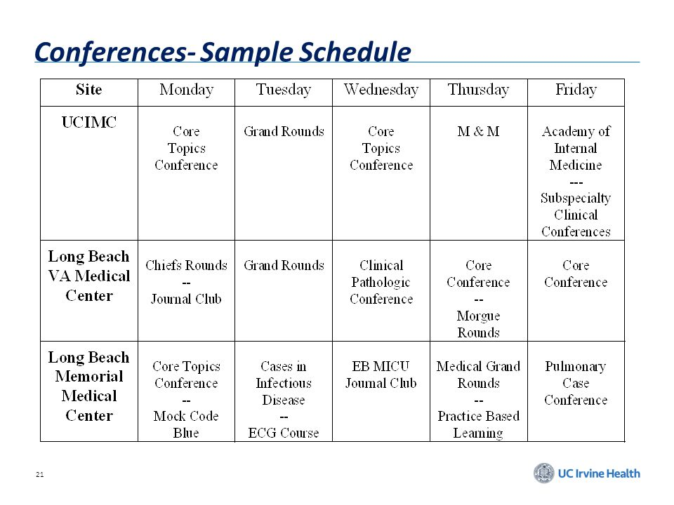 Conferences- Sample Schedule
