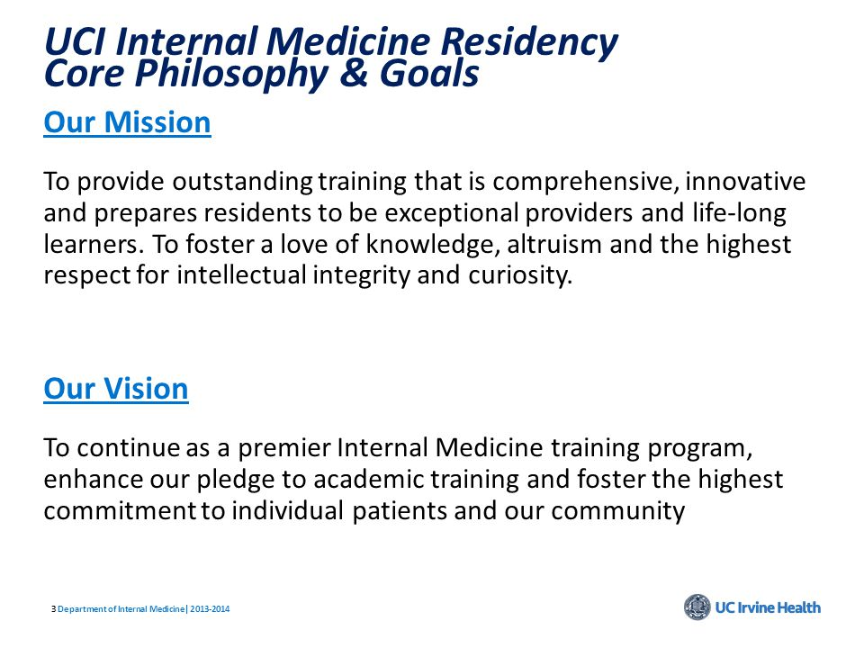 UCI Internal Medicine Residency Core Philosophy & Goals