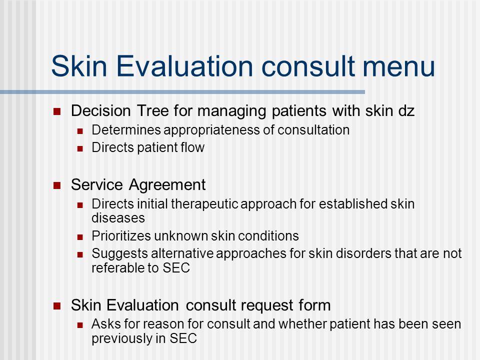 Skin Evaluation consult menu