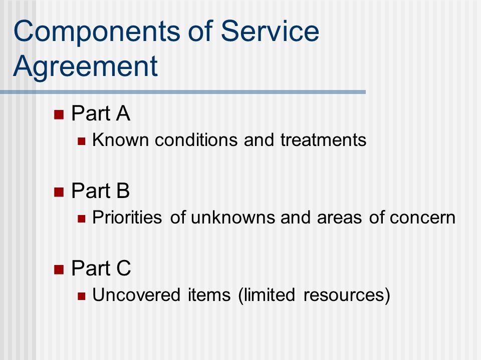 Components of Service Agreement