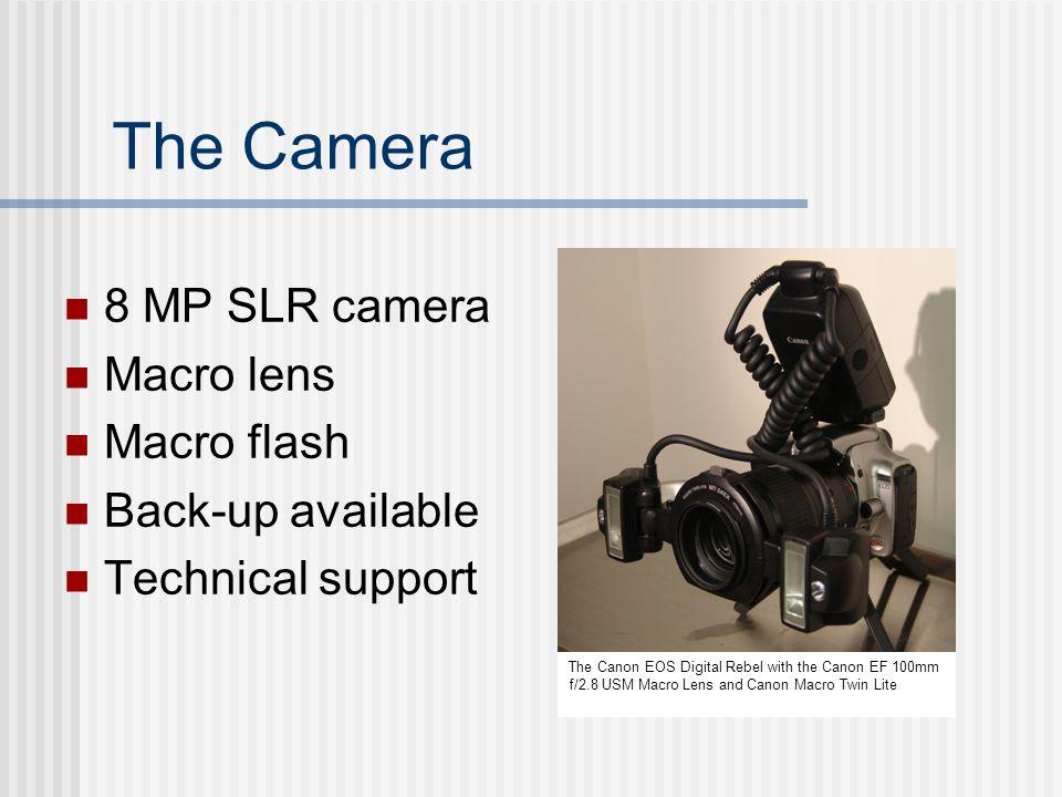 The Camera 8 MP SLR camera Macro lens Macro flash Back-up available