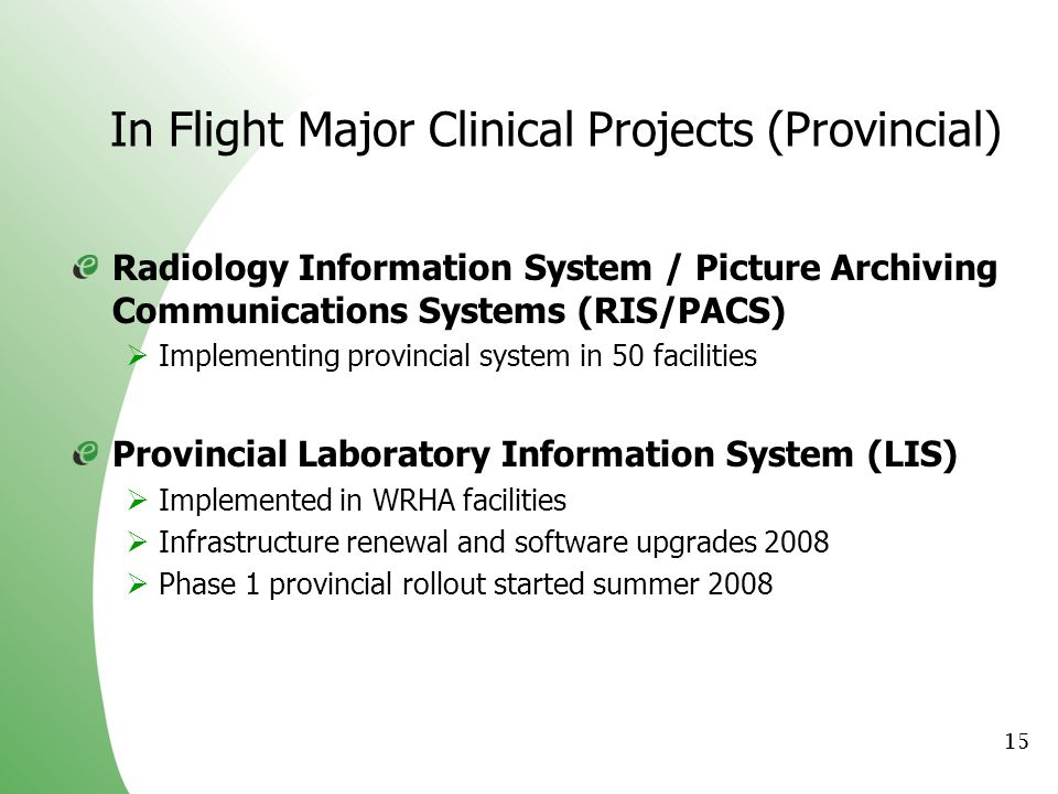 In Flight Major Clinical Projects (Provincial)