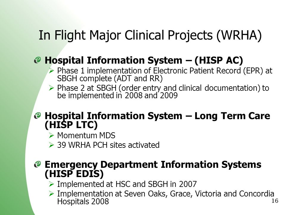 In Flight Major Clinical Projects (WRHA)