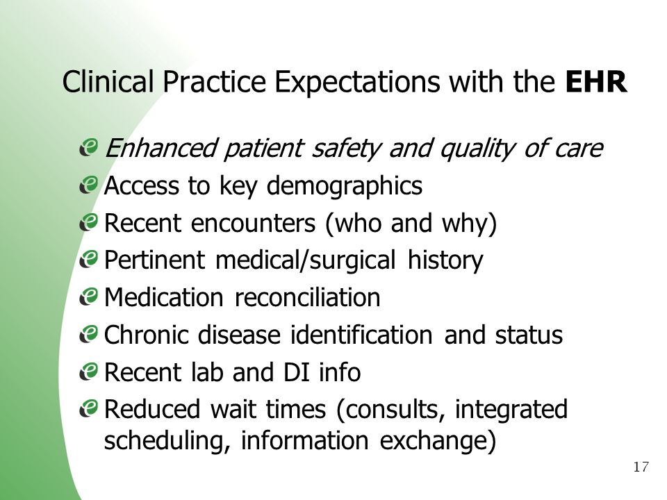 Clinical Practice Expectations with the EHR