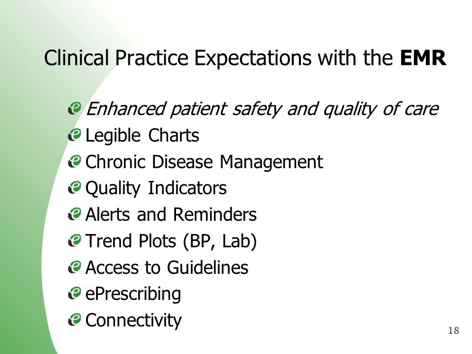 Clinical Practice Expectations with the EMR