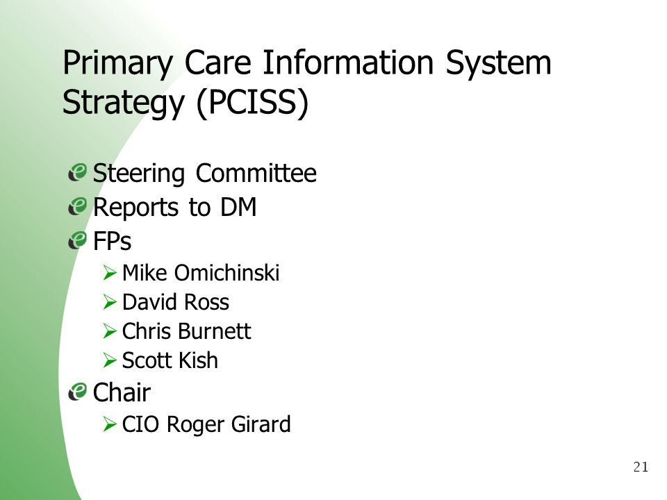 Primary Care Information System Strategy (PCISS)