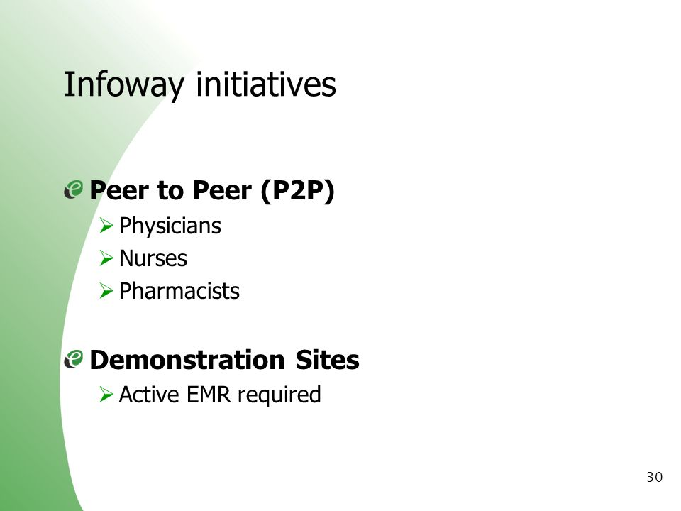 Infoway initiatives Peer to Peer (P2P) Demonstration Sites Physicians