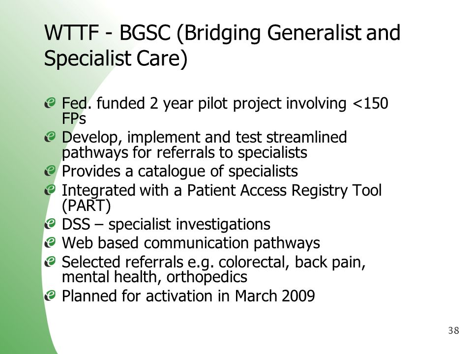 WTTF - BGSC (Bridging Generalist and Specialist Care)